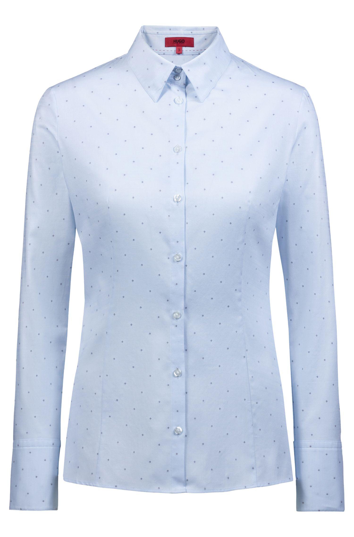 Slim-Fit Bluse aus Baumwolle mit Fil-coupé-Muster, Blau