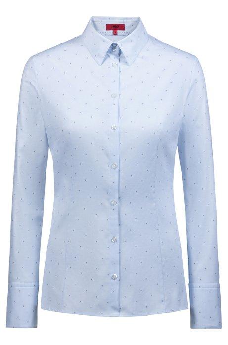 Slim-fit blouse van katoen met fil coupé-dessin, Blauw