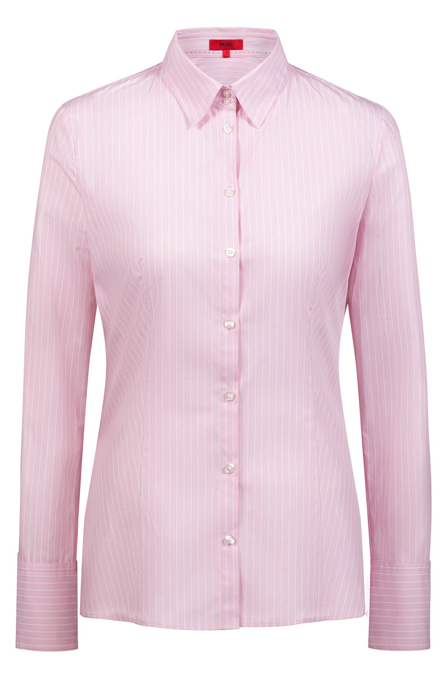 Elegante Slim-Fit Bluse aus reiner Baumwolle mit Nadelstreifen, Pink