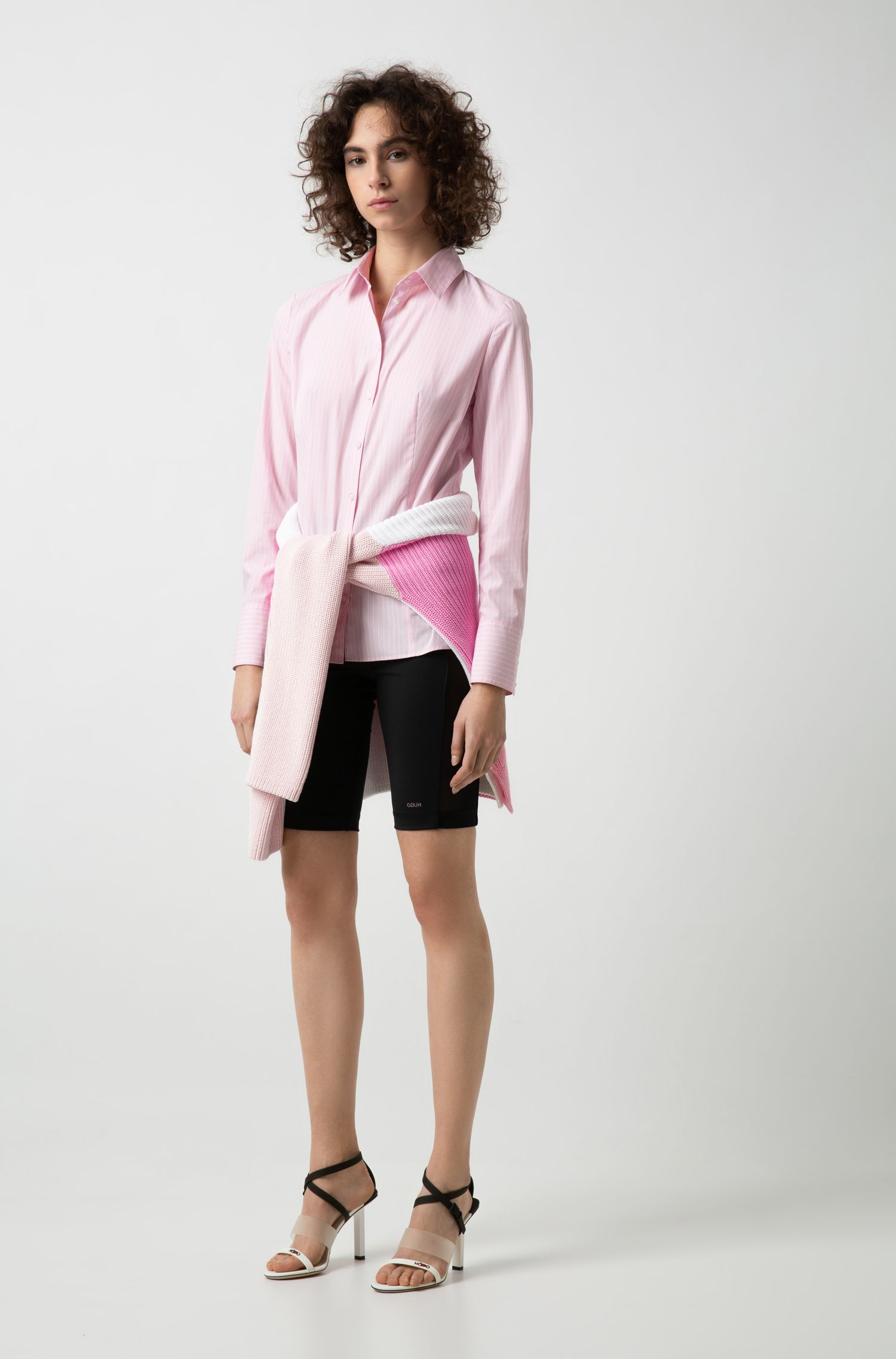 Slim-fit tailored blouse in pure cotton with pinstripe, Pink