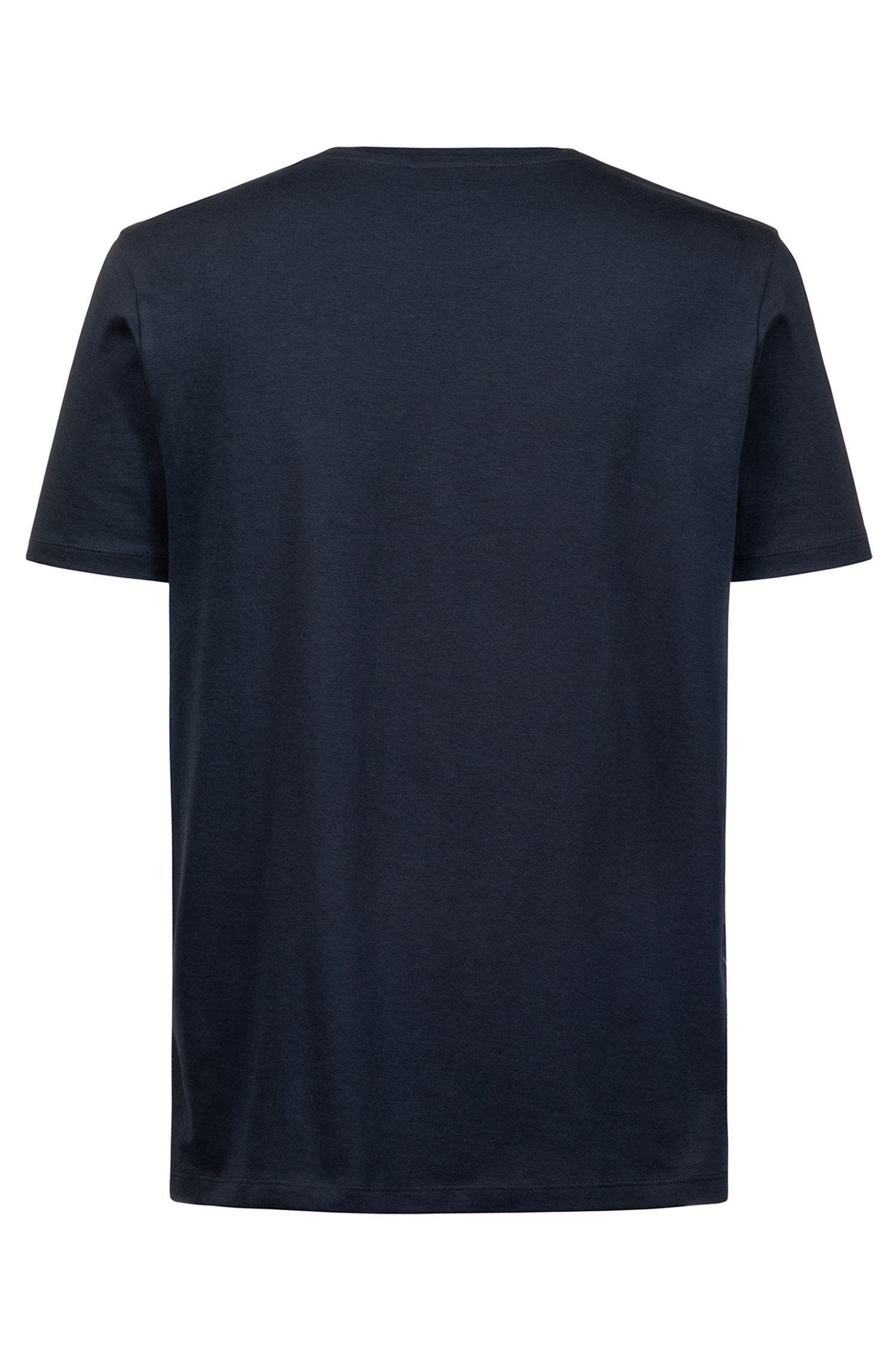 Crew-neck logo T-shirt in cotton jersey, Dark Blue
