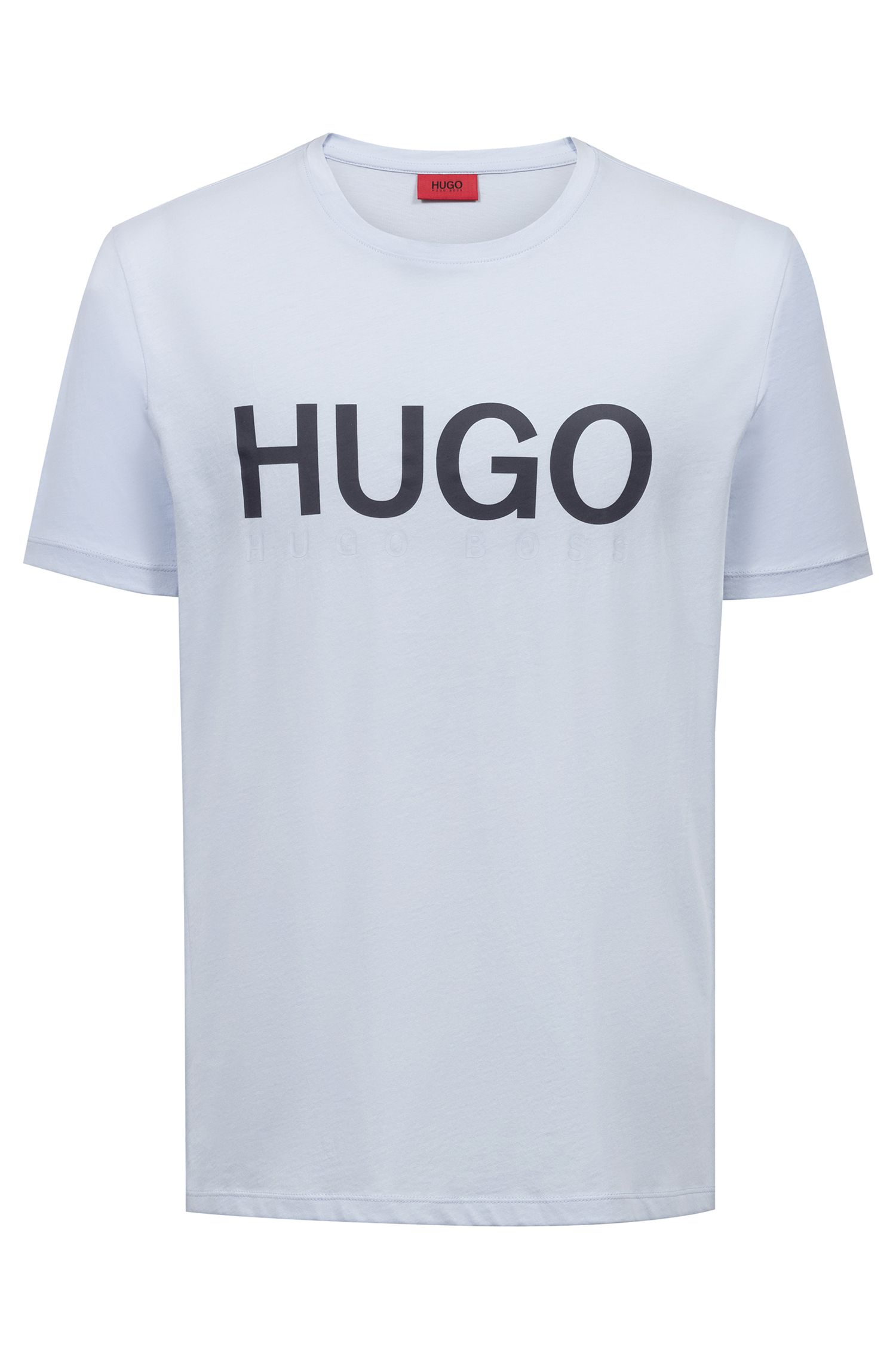 T-shirt a girocollo con logo in jersey di cotone, Celeste