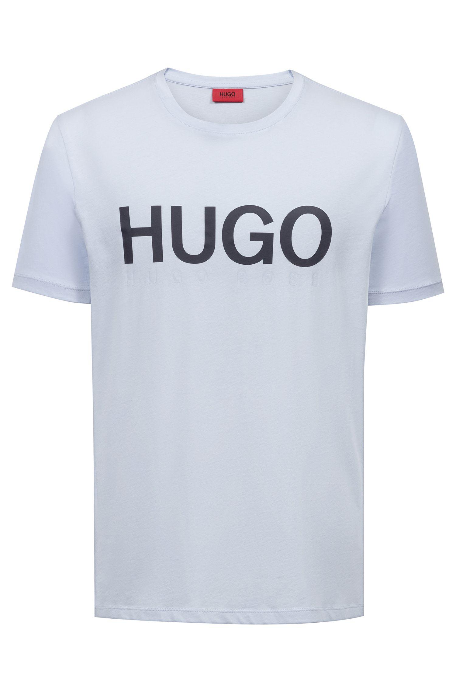 Crew-neck logo T-shirt in cotton jersey, Light Blue