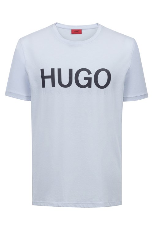 Hugo Boss - Camiseta de cuello redondo en punto de algodón con logo - 1