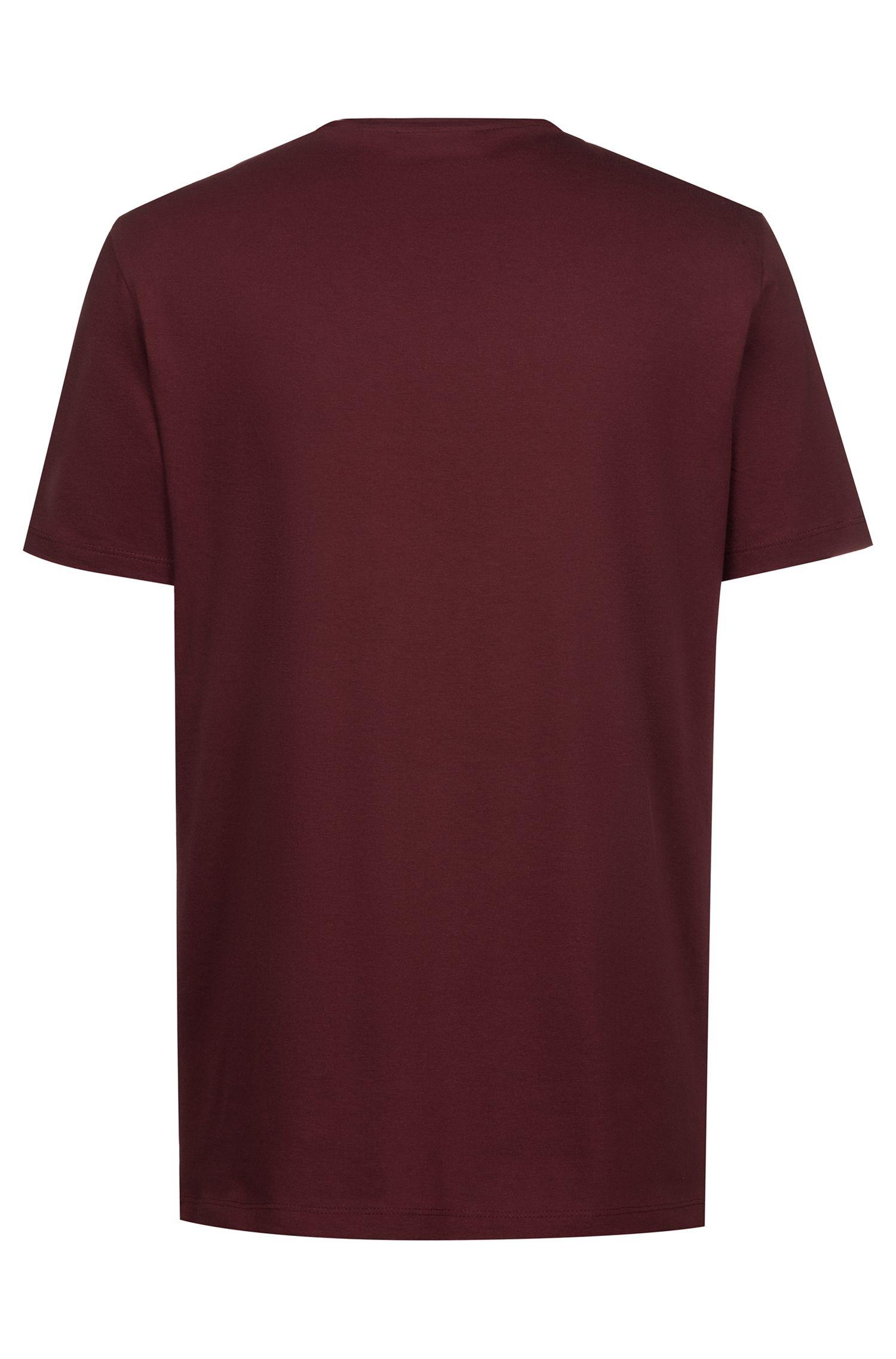 T-Shirt aus Baumwoll-Jersey mit Rundhalsausschnitt und Logo, Dunkelrot