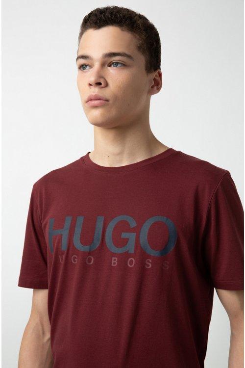 Hugo Boss - Camiseta de cuello redondo en punto de algodón con logo - 3