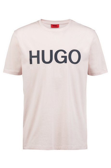 T-shirt a girocollo con logo in jersey di cotone, Rosa chiaro