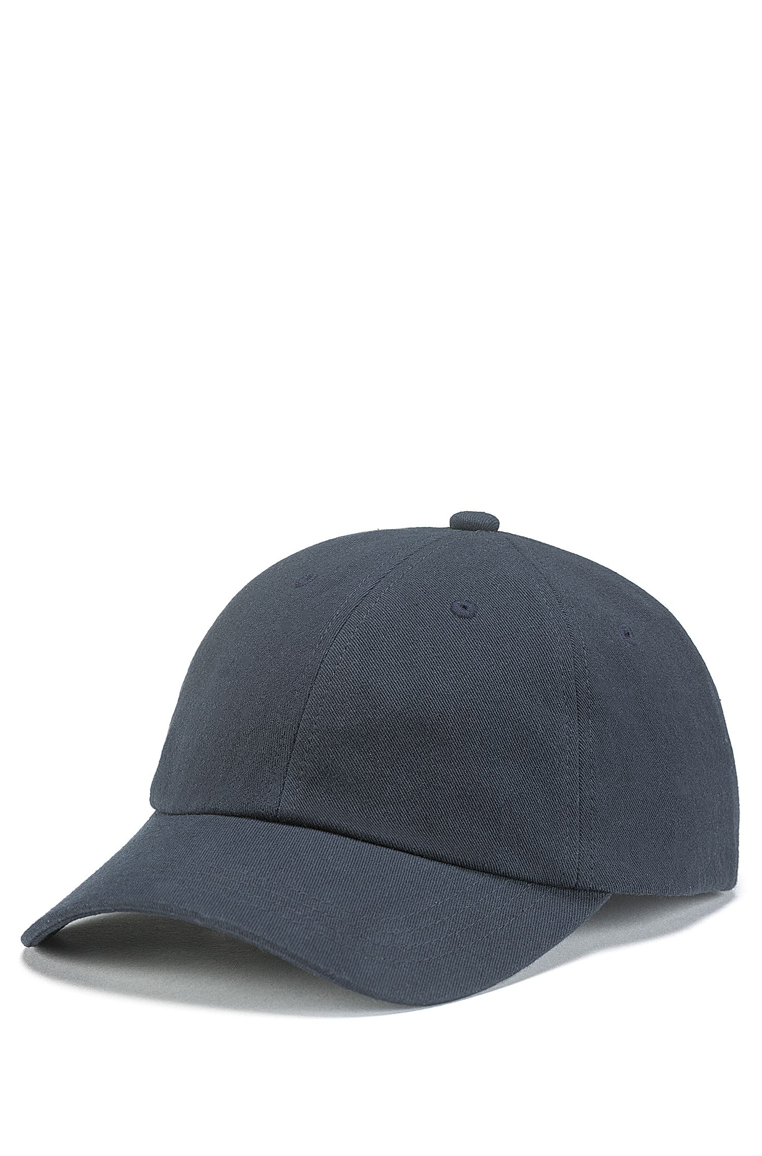 Adjustable cap in cotton twill with reverse-logo embroidery, Dark Blue