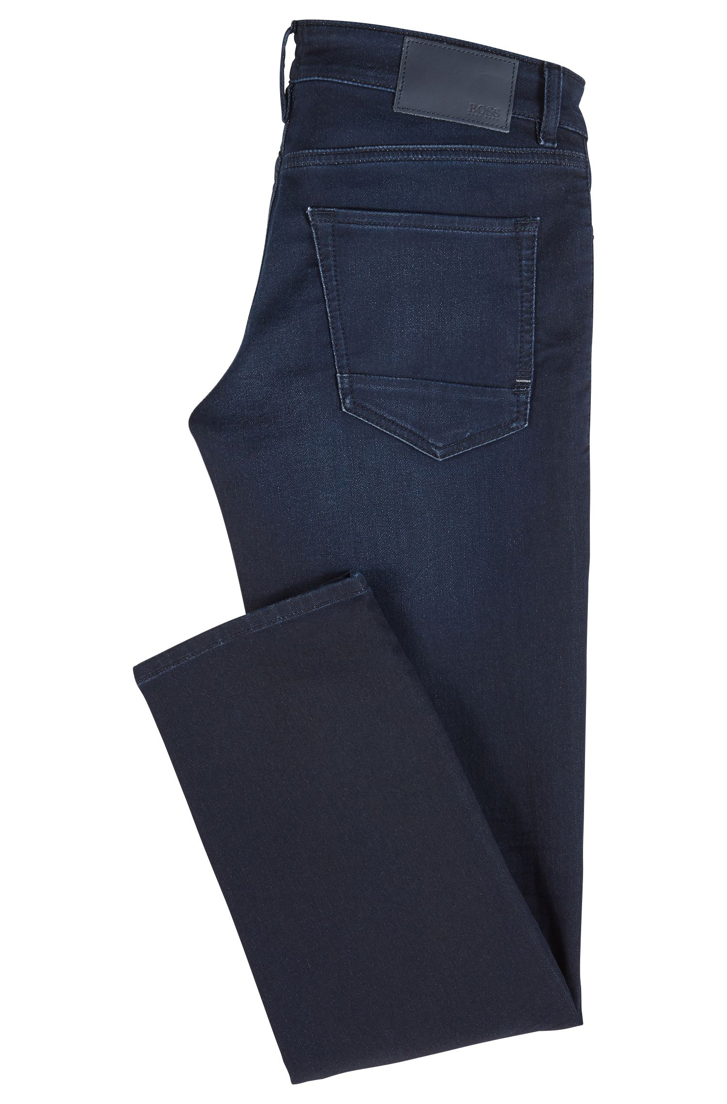 Regular-fit jeans in distressed dark-blue knitted denim, Dark Blue