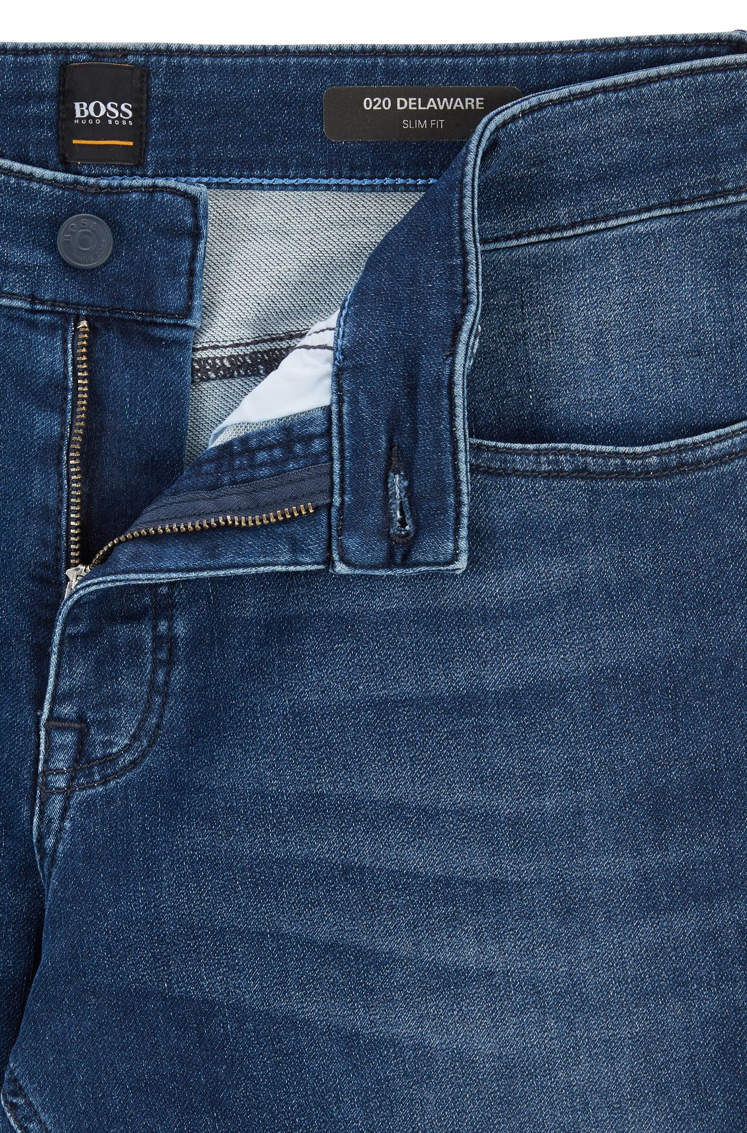 Slim-fit jeans van gebreid stretchdenim, Donkerblauw