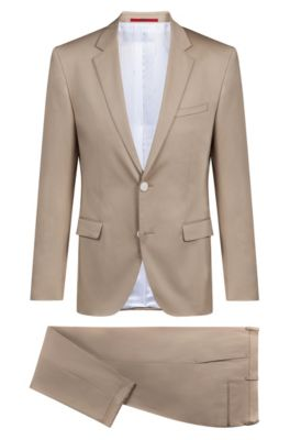 Extra-slim-fit stretch-cotton suit with satin touch, Beige