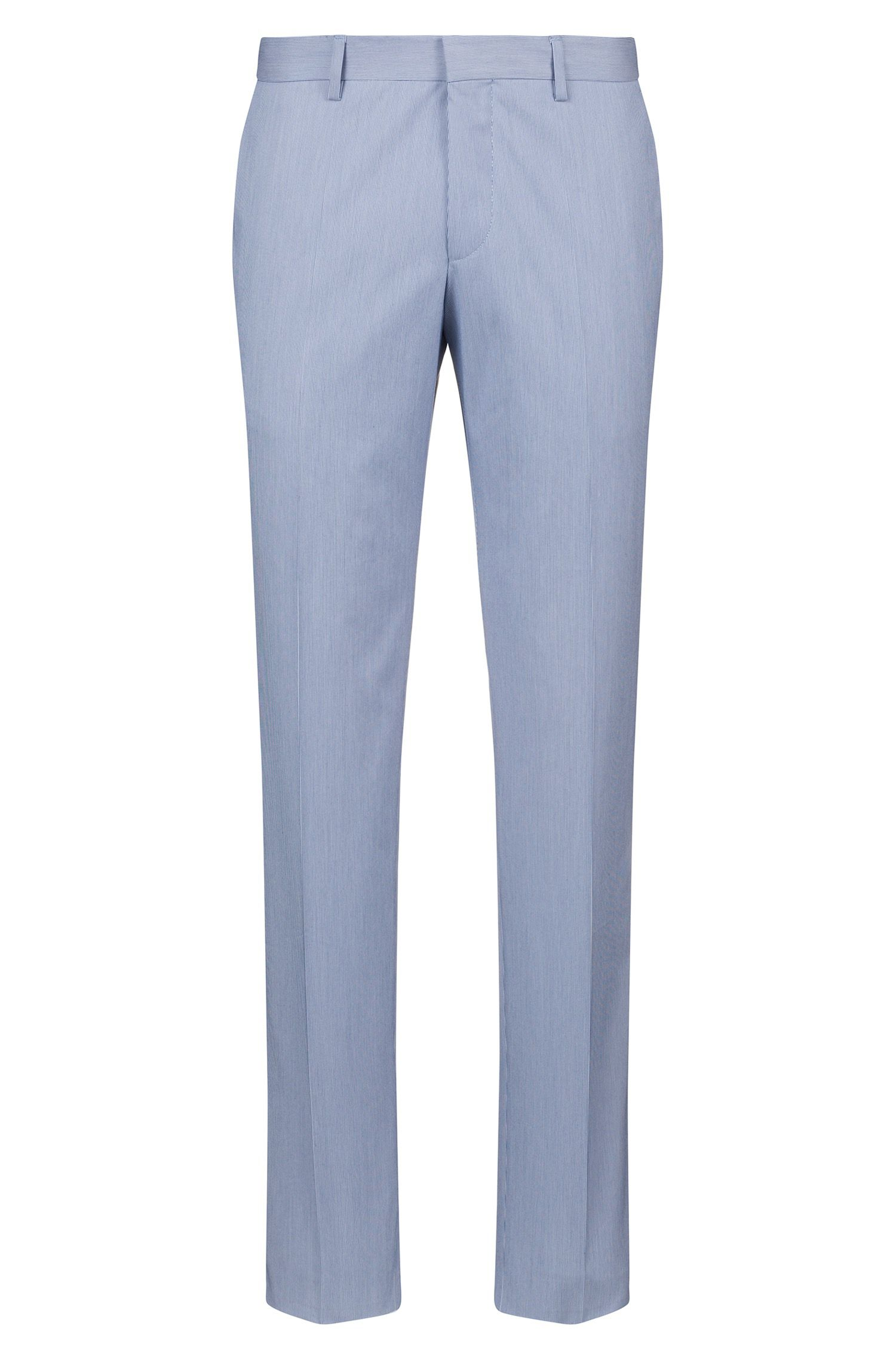 Slim-fit trousers in a striped stretch-cotton blend, Light Blue