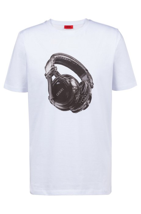 ac202446c Cotton T-shirt with techno-influenced graphic, White