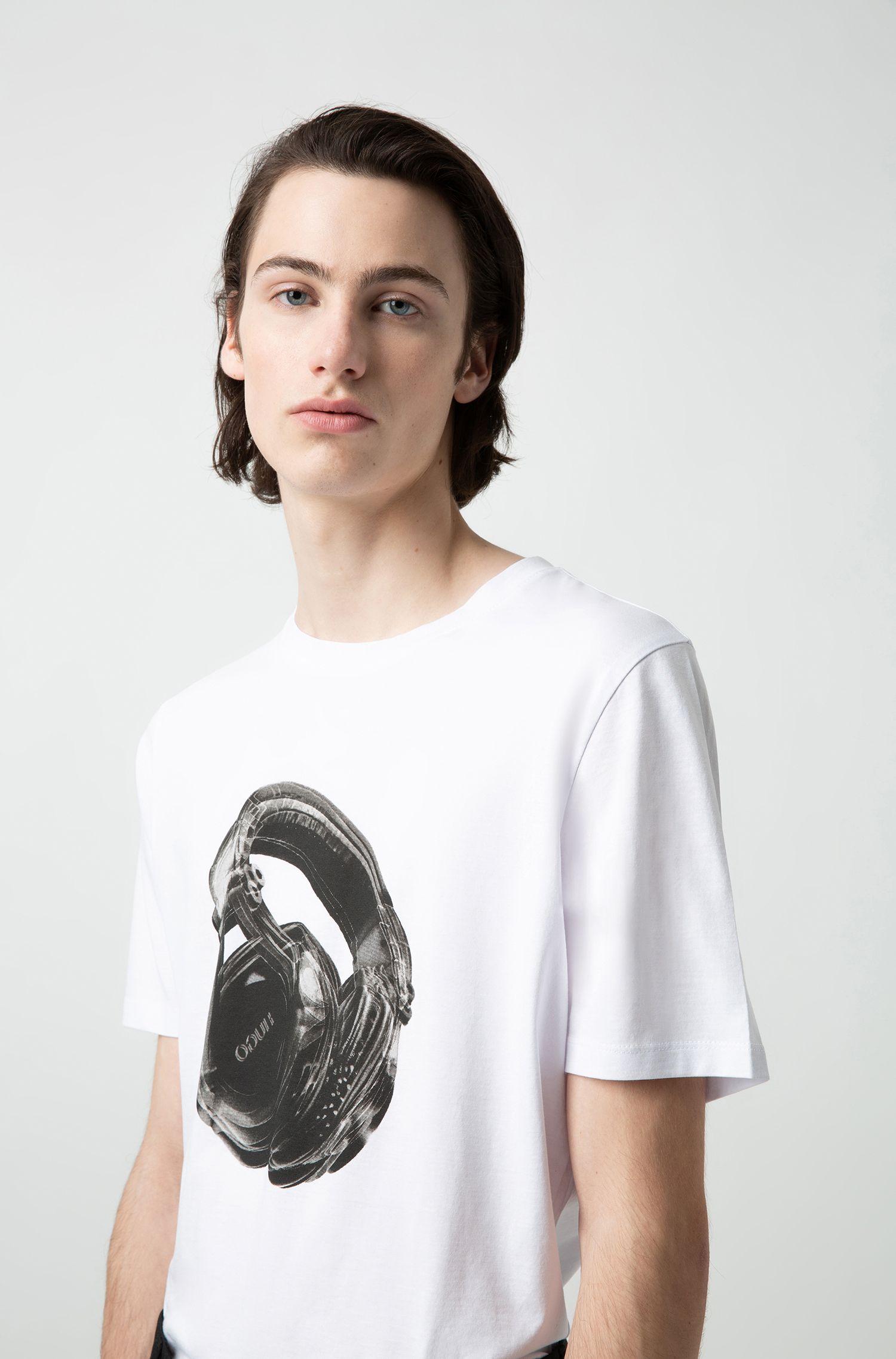 T-Shirt aus Baumwolle mit Grafik im Techno-Look, Weiß