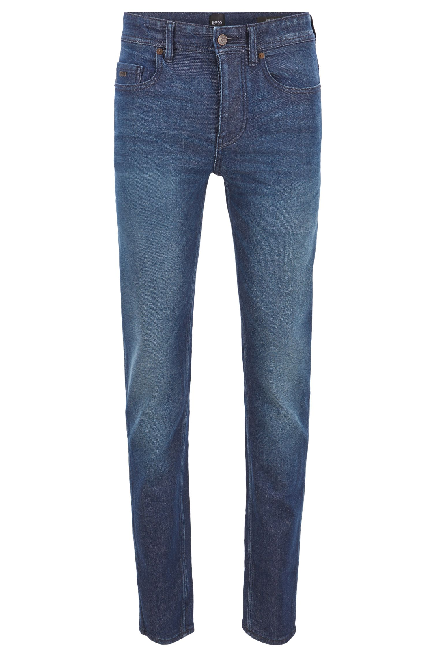 Tapered-Fit Jeans aus Denim mit Vintage-Effekt, Dunkelblau