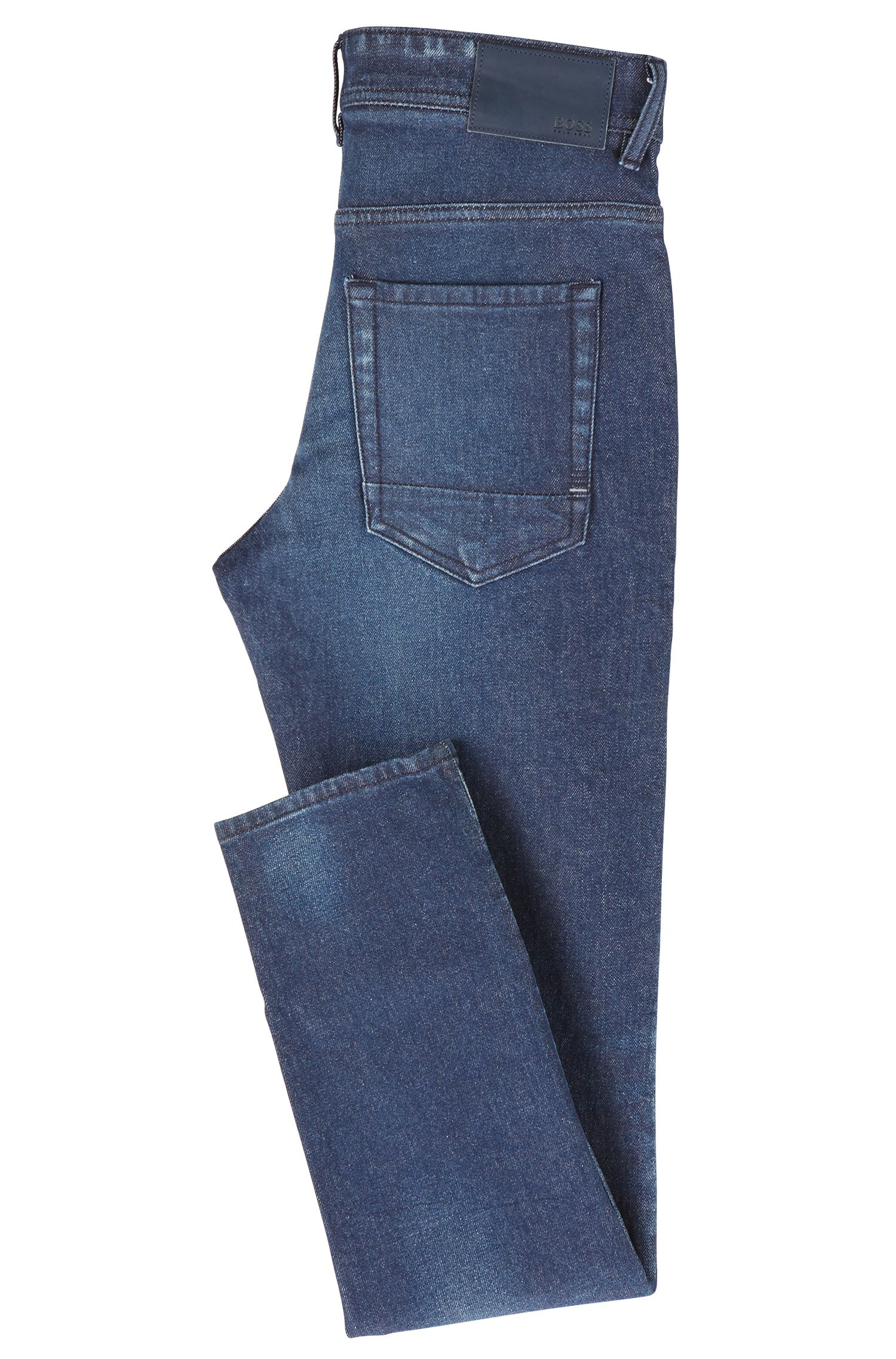 Jeans tapered fit in denim blu scuro effetto vintage, Blu scuro