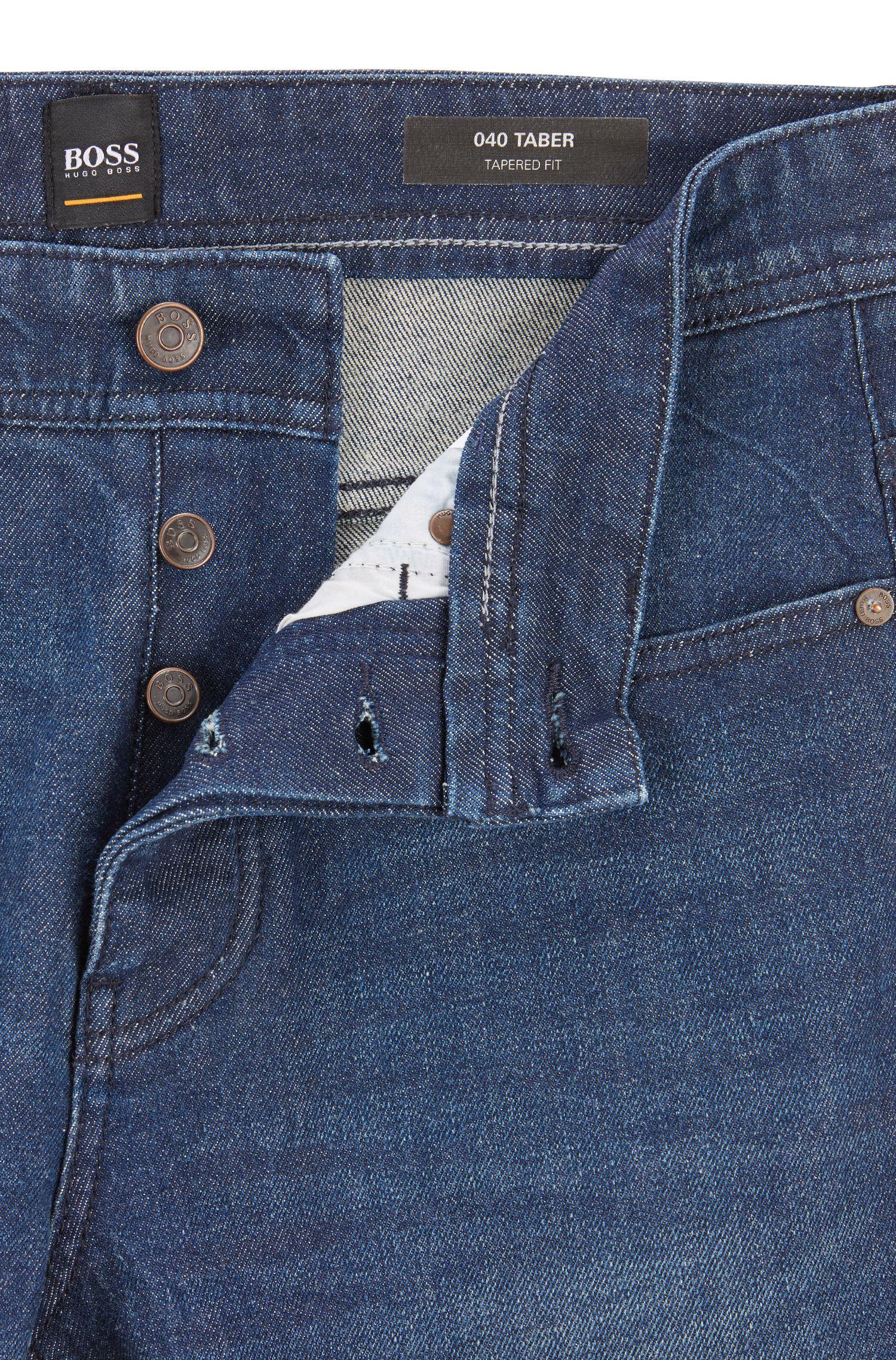 Tapered-fit jeans van donkerblauw denim met vintage-effect, Donkerblauw