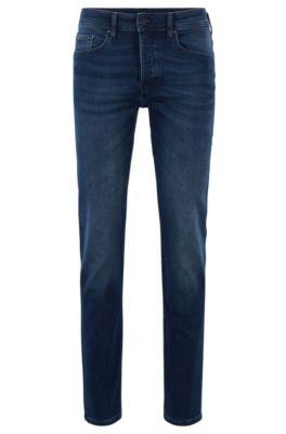 Tapered-Fit Jeans aus gestricktem Baumwoll-Mix mit Elasthan, Dunkelblau