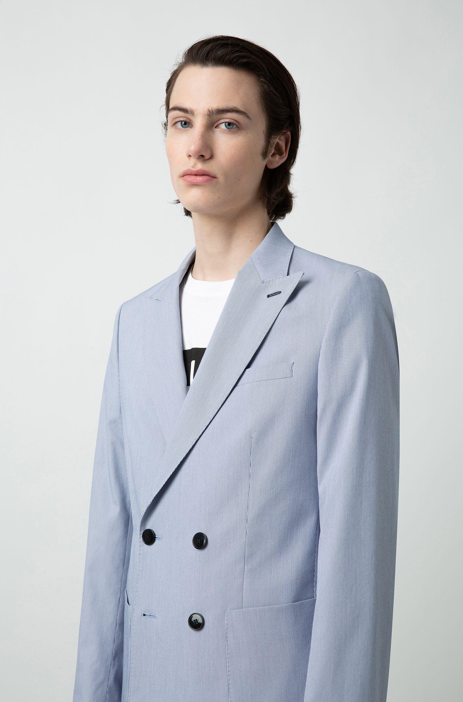 Slim-fit colbert met verticale strepen en twee rijen knopen, Lichtblauw