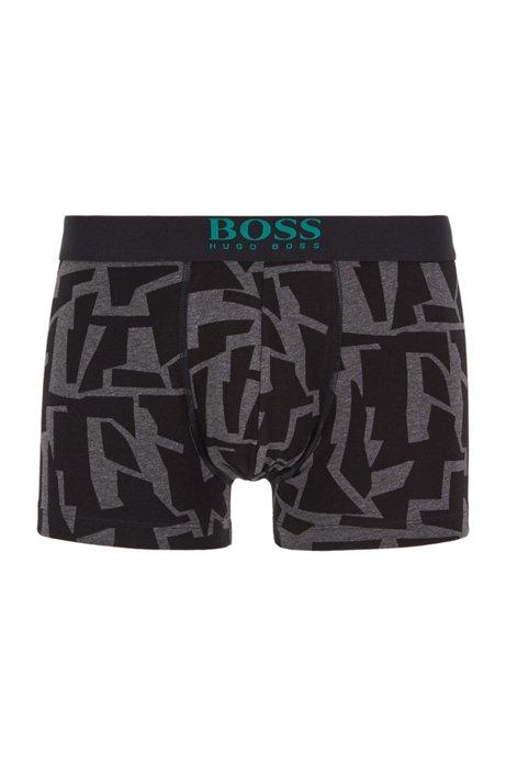 Boxershorts aus Stretch-Baumwolle mit Grafik-Print, Anthrazit