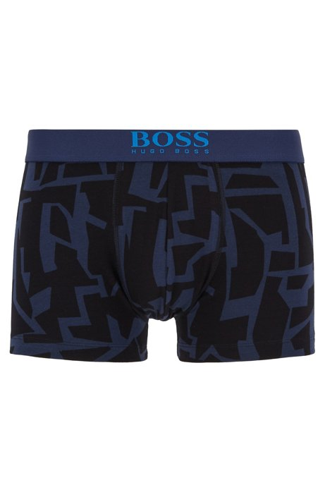 Stretch-cotton trunks in a graphic print, Dark Blue