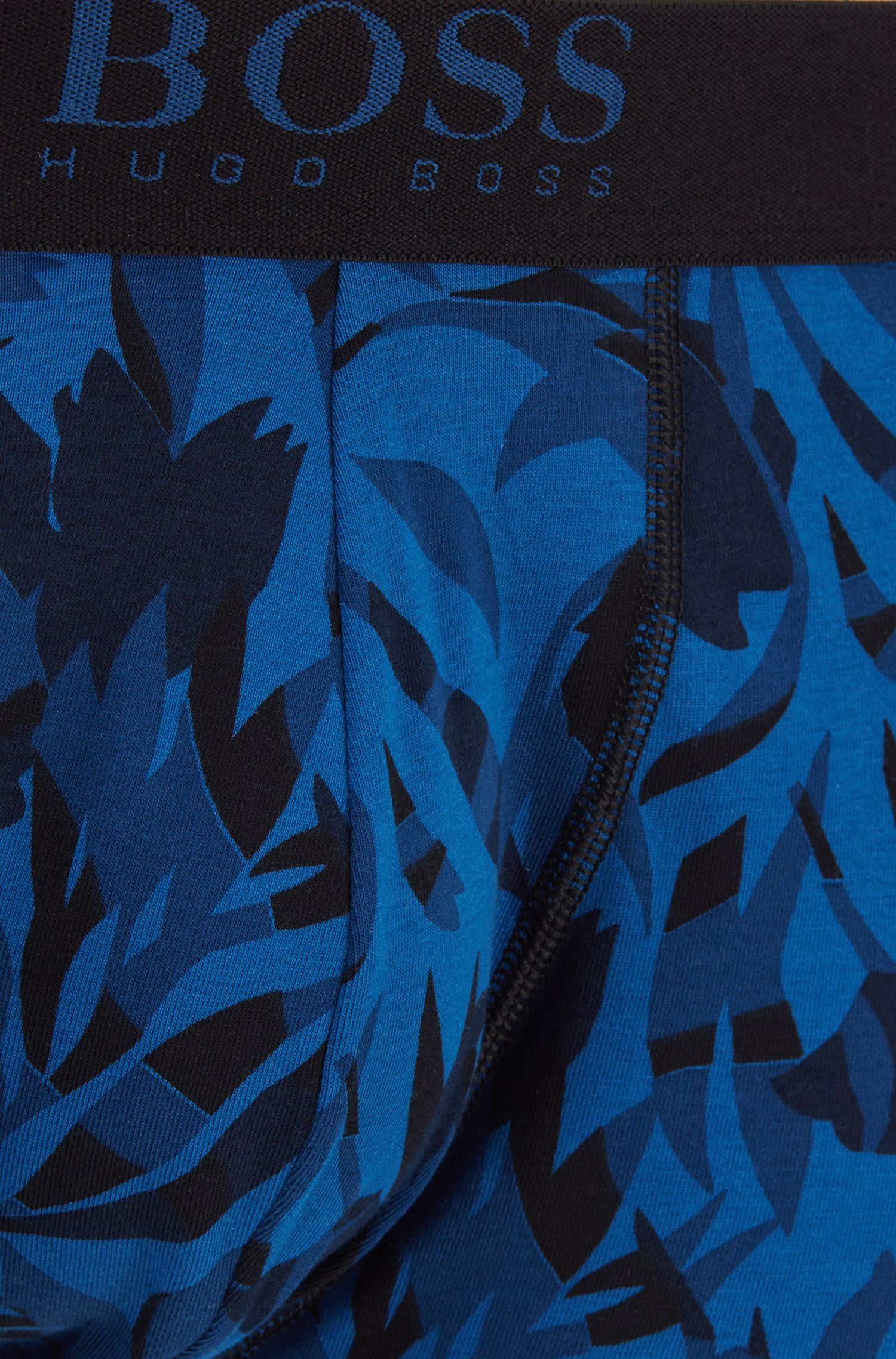 Stretch-cotton trunks in a graphic print, Blue