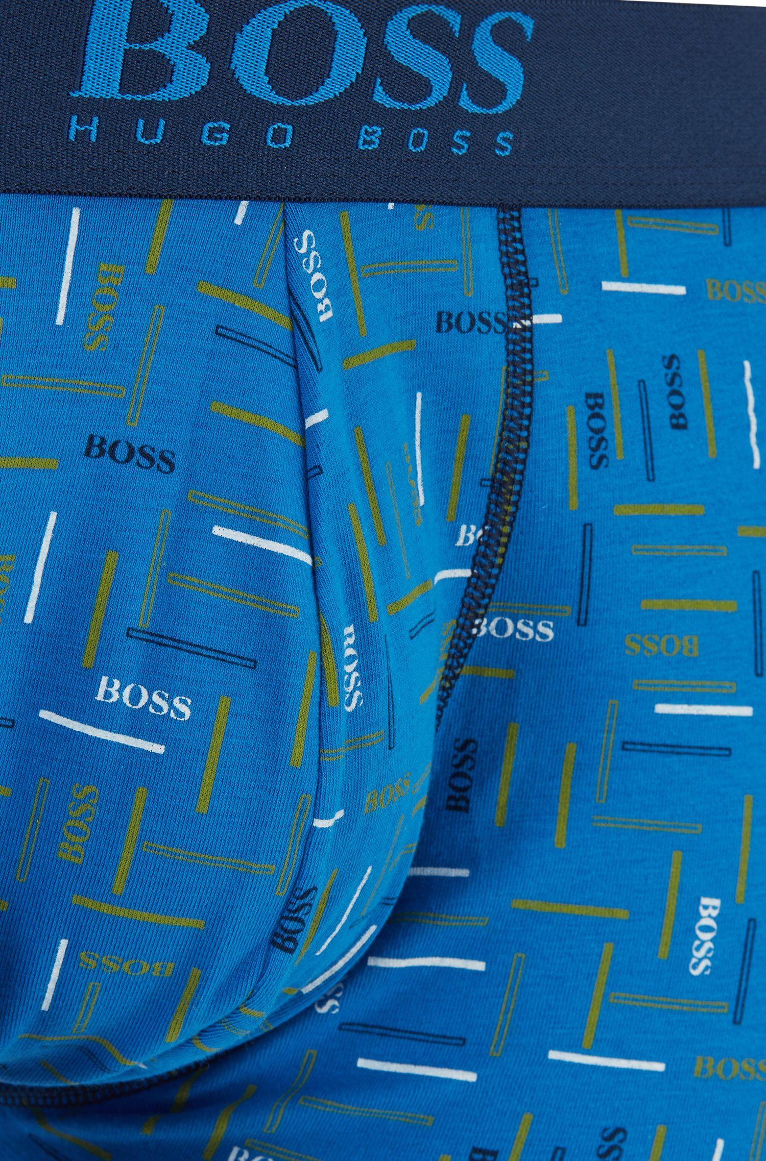 Boxer en coton stretch à imprimé graphique, Bleu