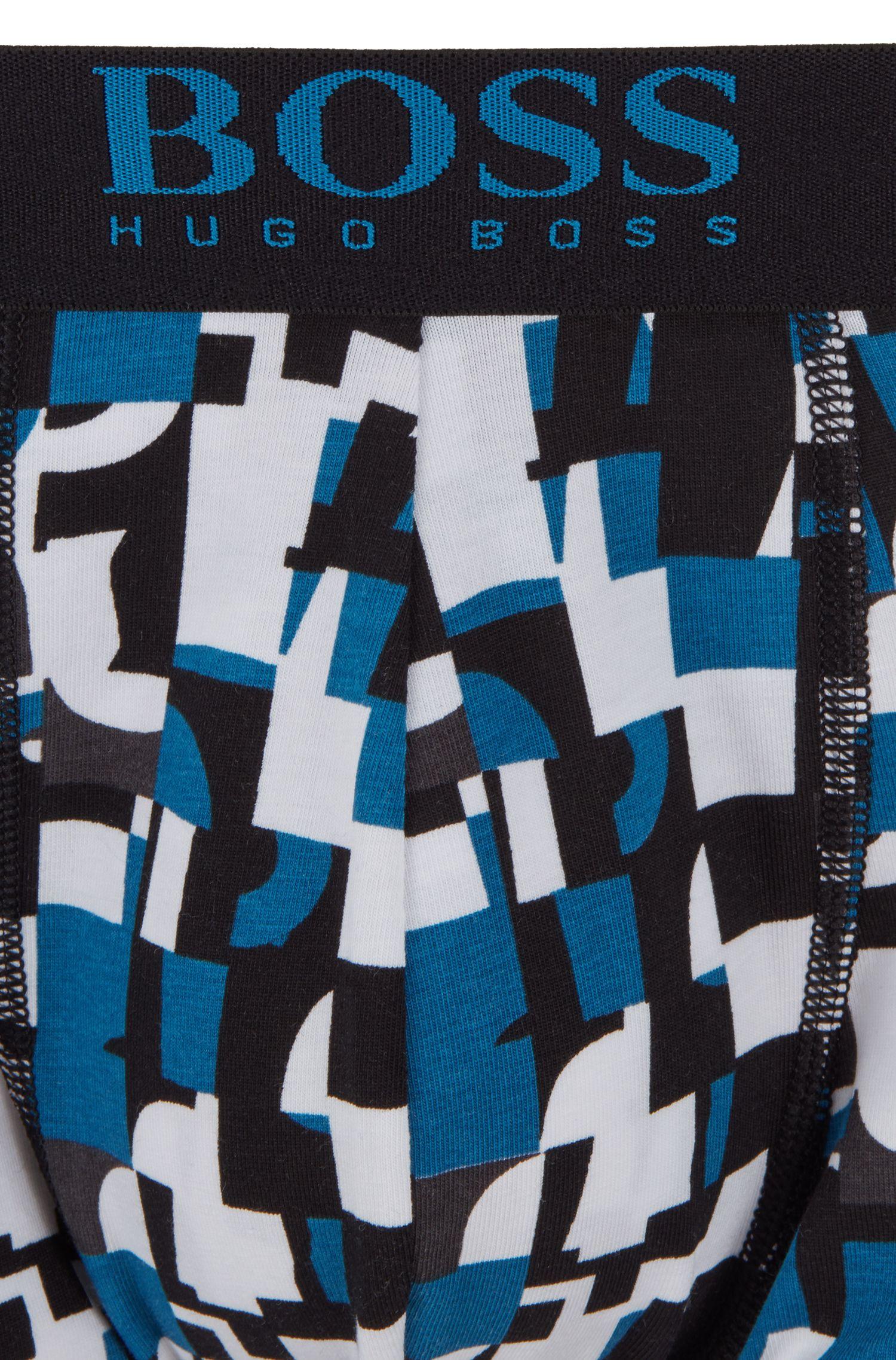 Boxershorts aus Stretch-Baumwolle mit Grafik-Print, Türkis