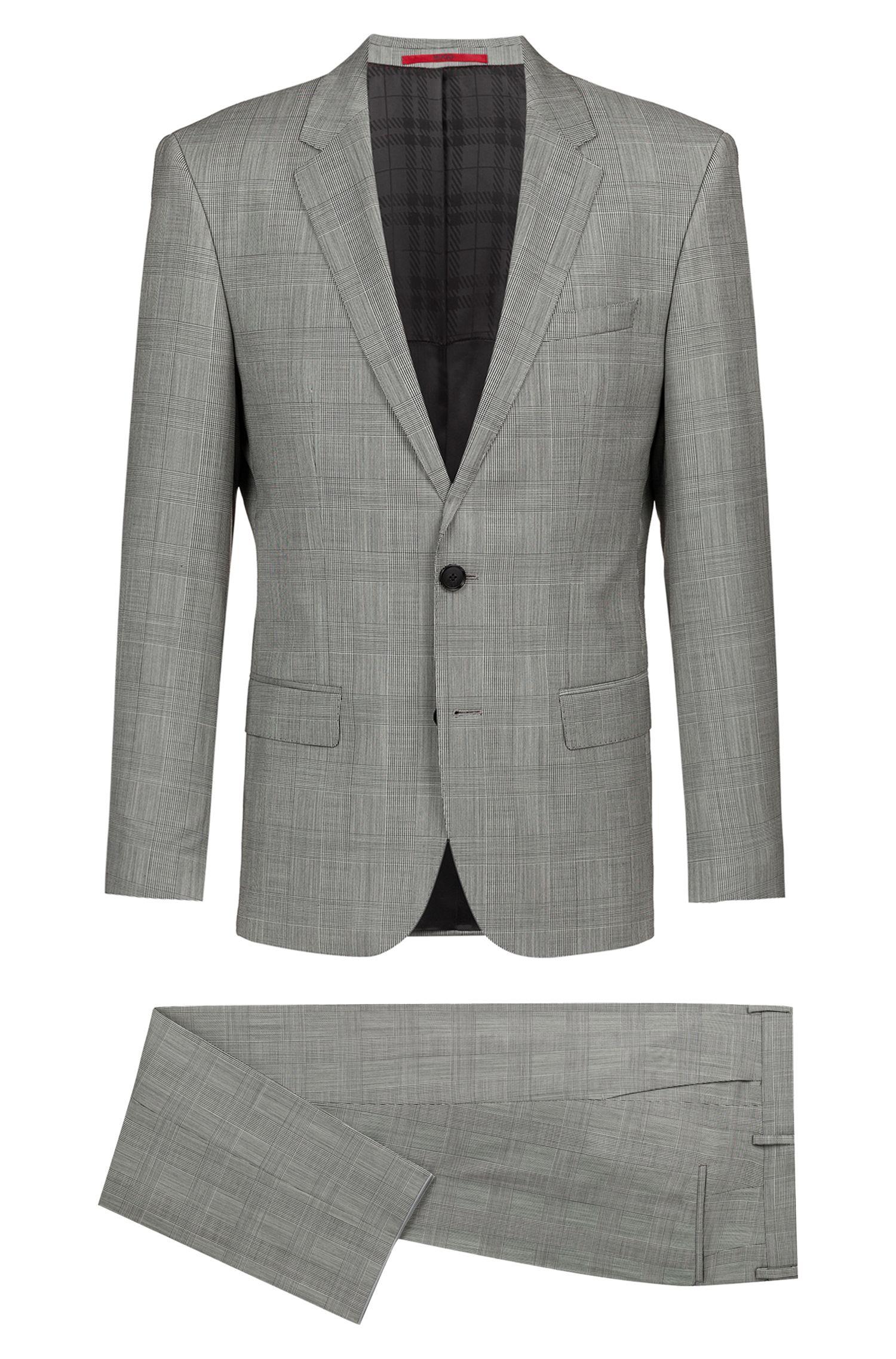 Slim-fit suit in checked Italian virgin wool, Patterned