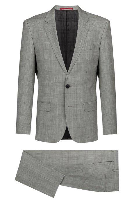 5a9045a12b HUGO - Slim-fit suit in checked Italian virgin wool