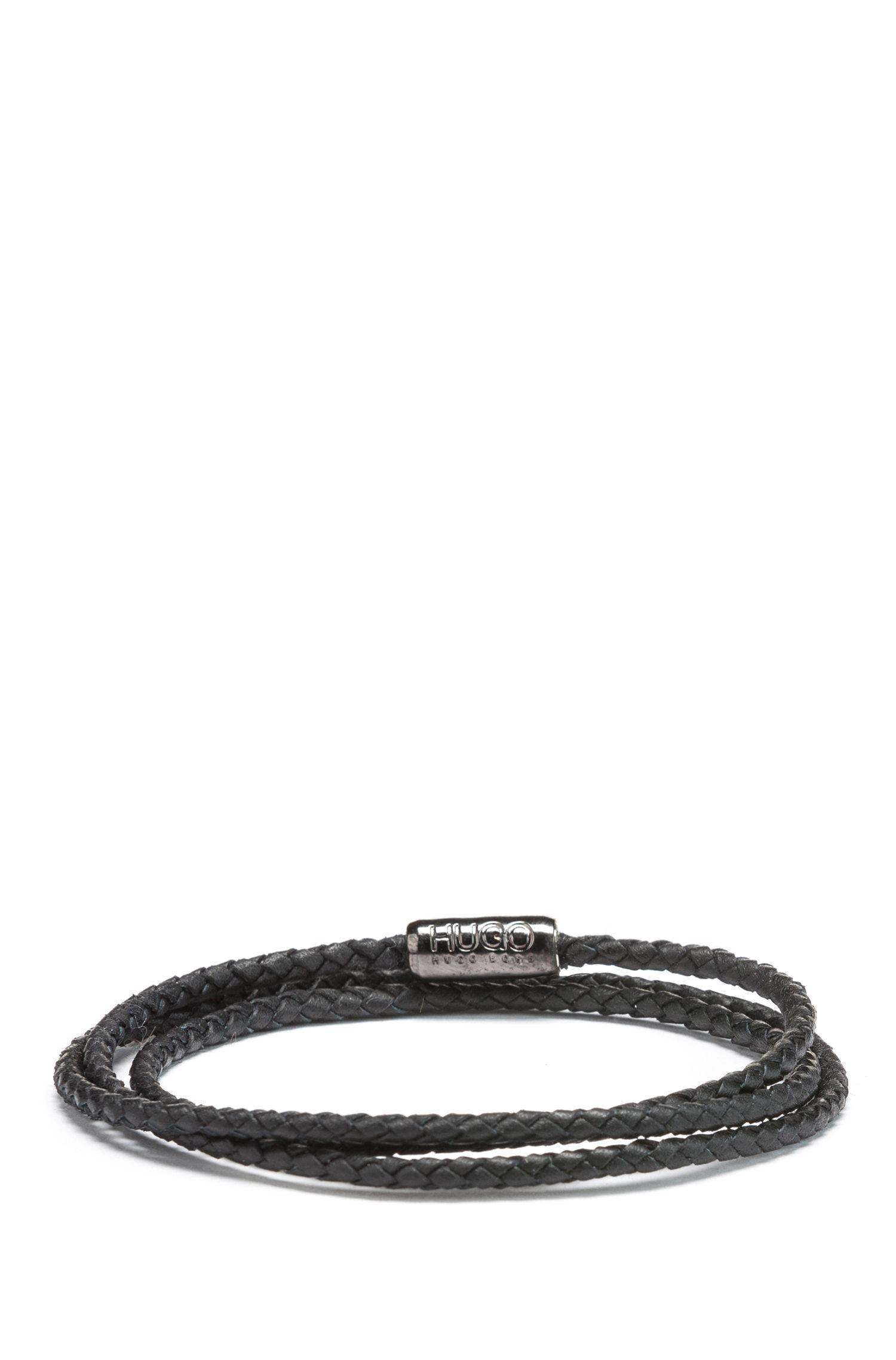 Wrap bracelet in braided Italian calf leather, Black
