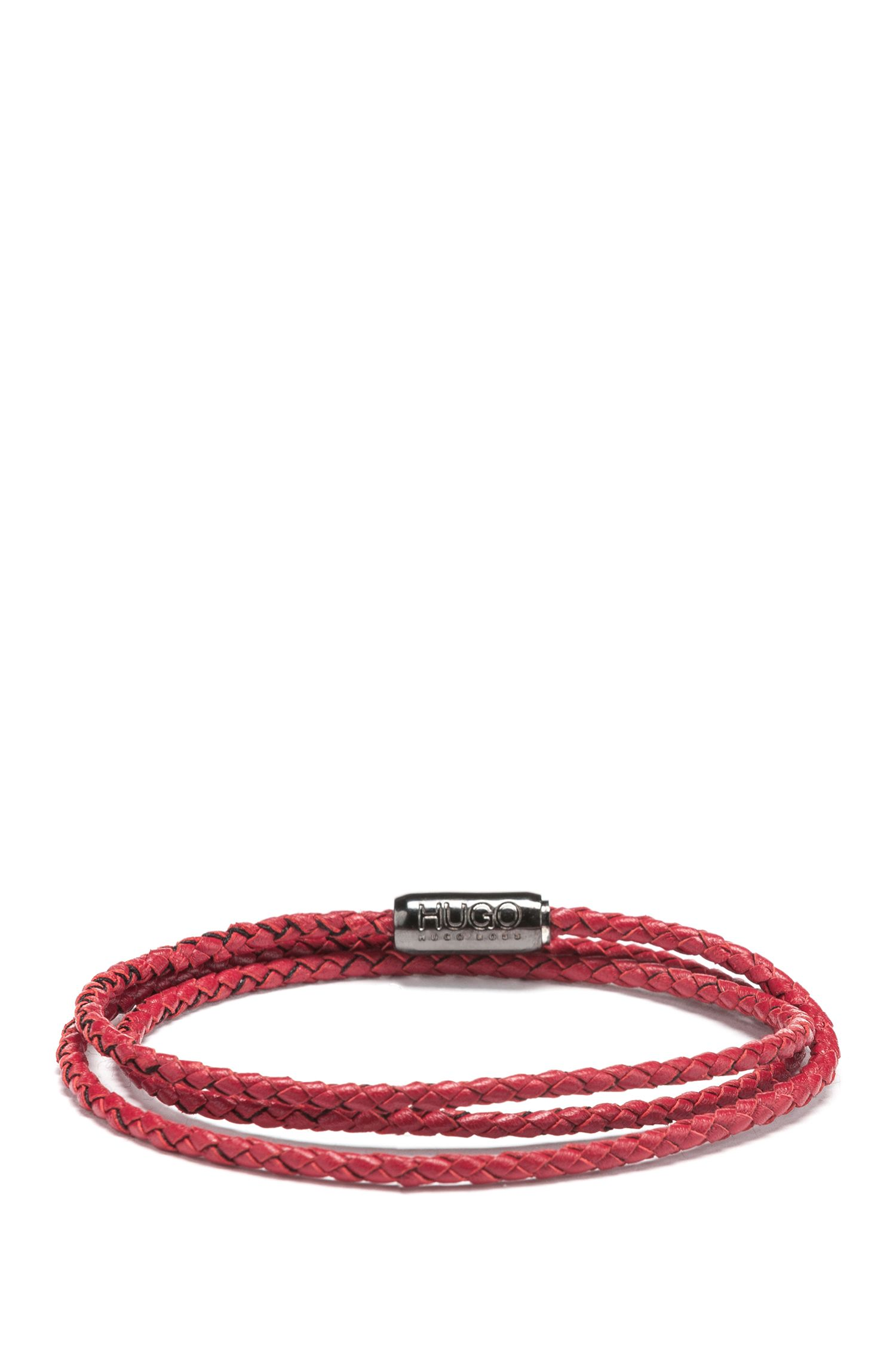 Hugo Boss - Geflochtenes Wickelarmband aus italienischem Leder - 1