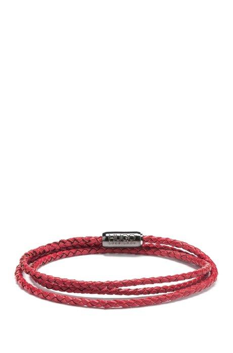 Bracelet multirangs en cuir de veau tressé italien, Rouge