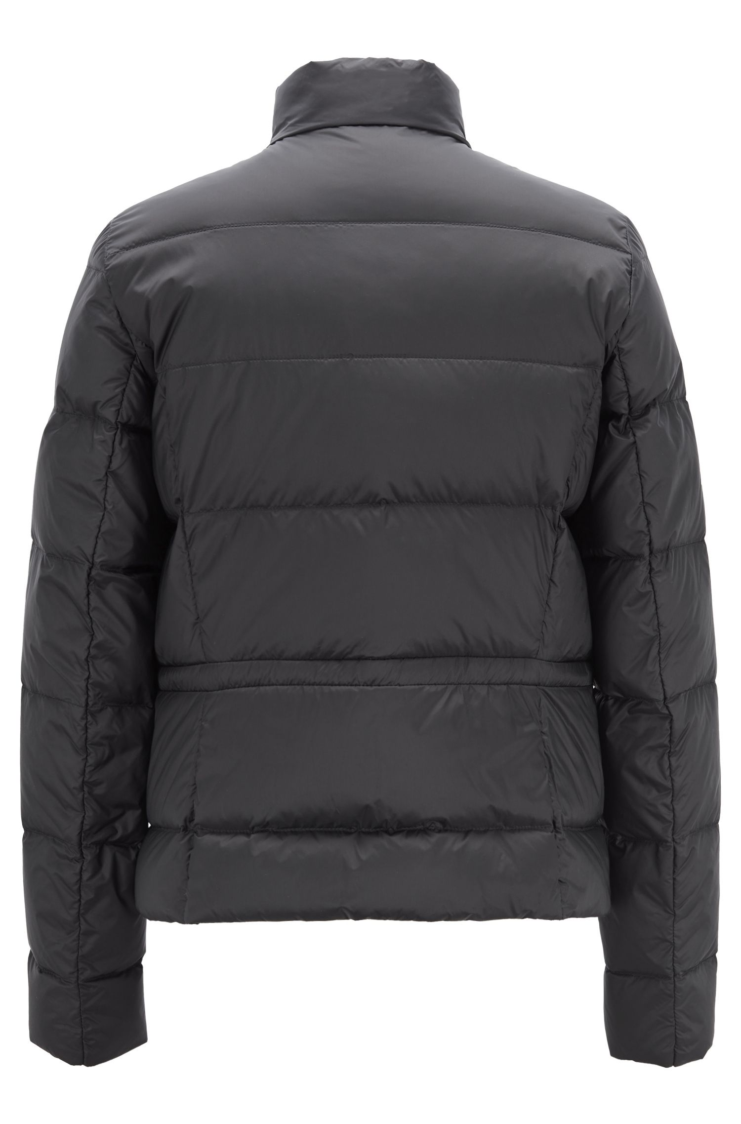 Slim-fit down jacket in water-repellent technical fabric, Black
