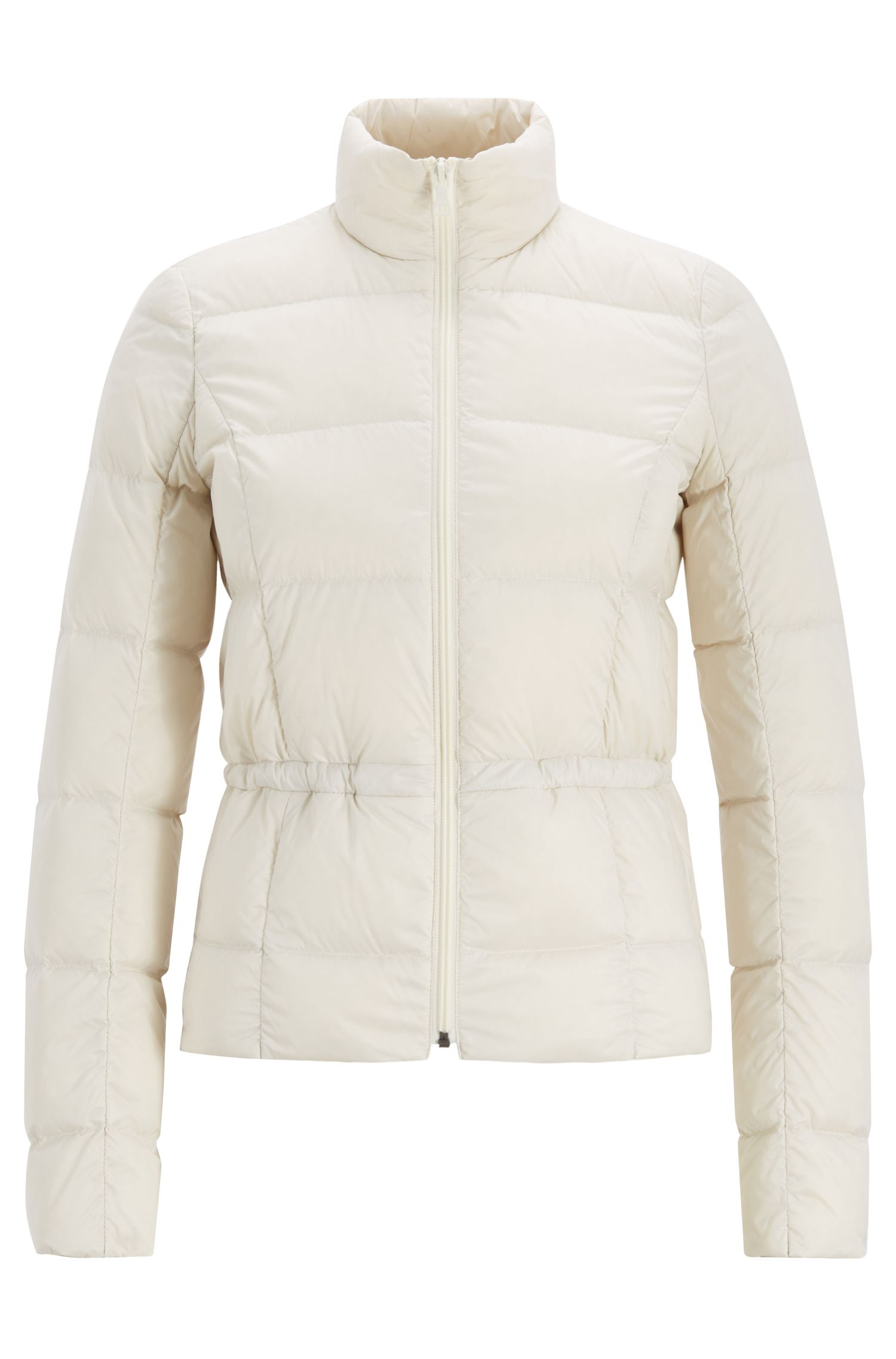 Slim-fit down jacket in water-repellent technical fabric, Natural