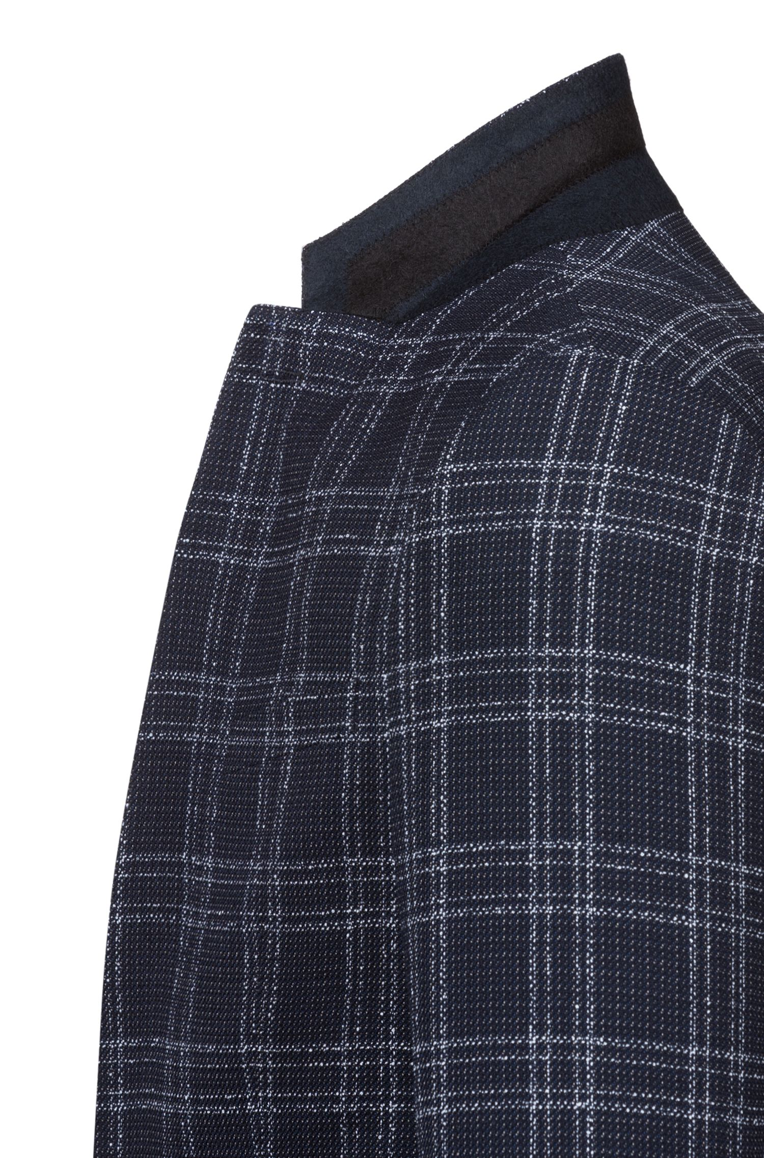 Giacca slim fit in misto lana con effetto tweed, A disegni