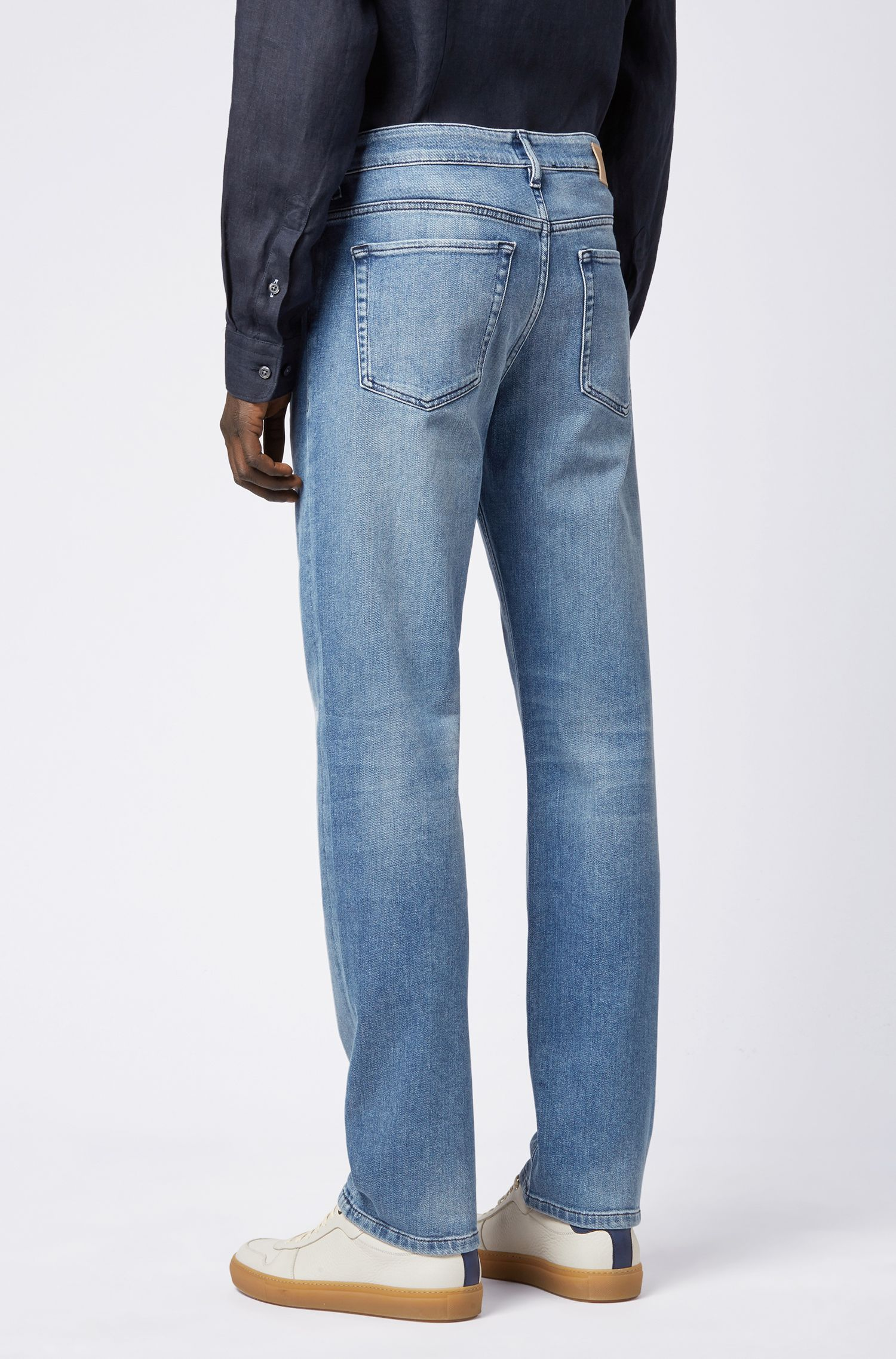 Relaxed-Fit Jeans aus elastischem BCI-Denim, Blau