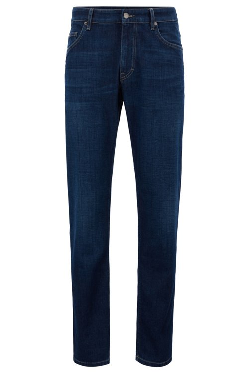 Hugo Boss - Vaqueros relaxed fit en denim elástico italiano azul oscuro - 1