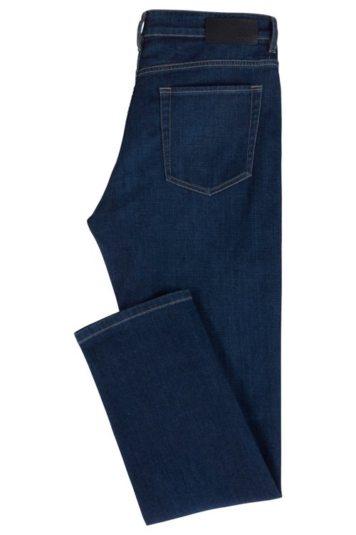 Hugo Boss - Vaqueros relaxed fit en denim elástico italiano azul oscuro - 3