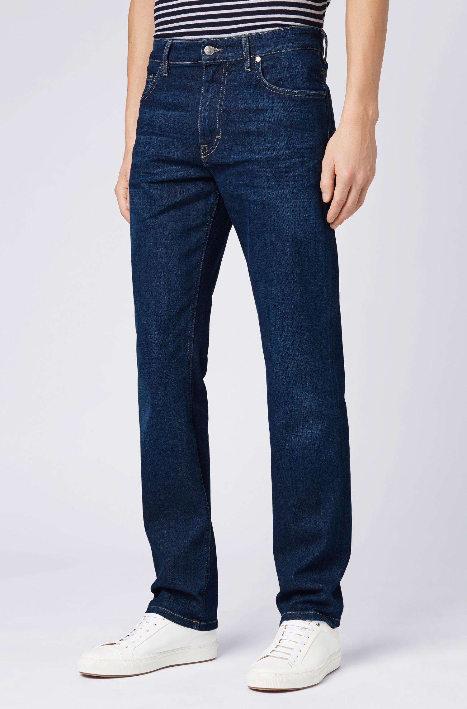 Regular-fit jeans van donkerblauw Italiaans stretchdenim, Donkerblauw