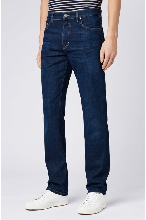 Hugo Boss - Vaqueros relaxed fit en denim elástico italiano azul oscuro - 4