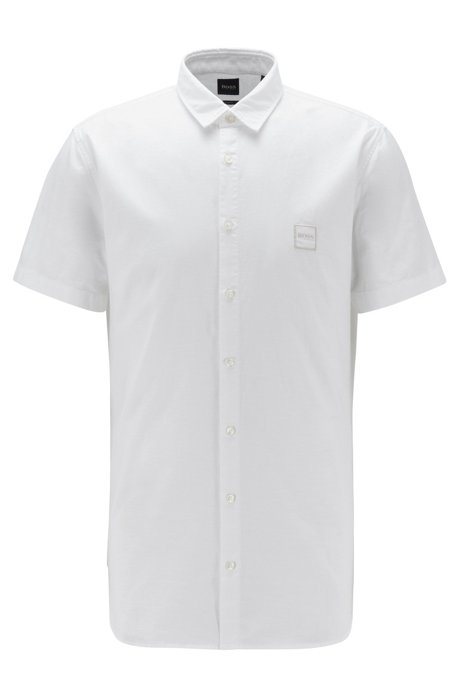 Short-sleeved slim-fit shirt in Oxford cotton, White