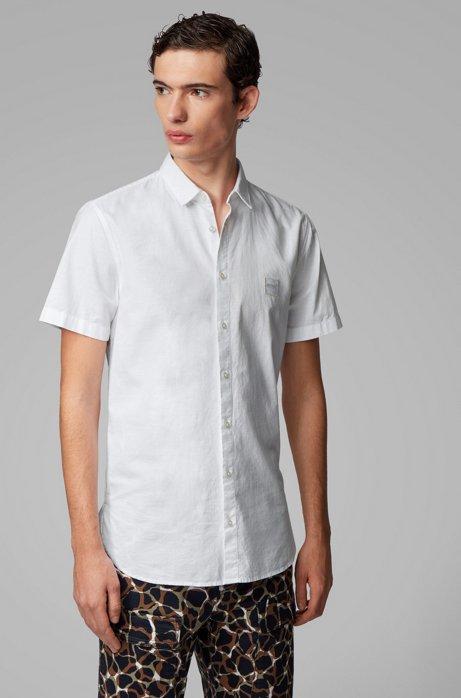 Camicia a maniche corte slim fit in cotone Oxford, Bianco