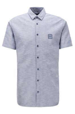 Chemise Slim Fit à manches courtes en coton Oxford, Gris