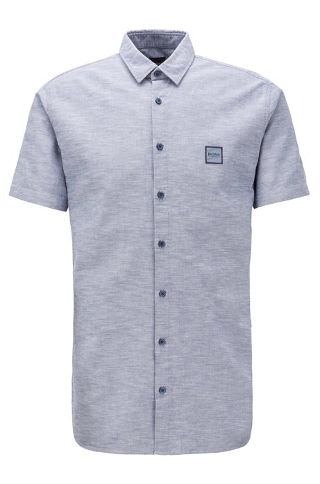 Short-sleeved slim-fit shirt in Oxford cotton, Grey
