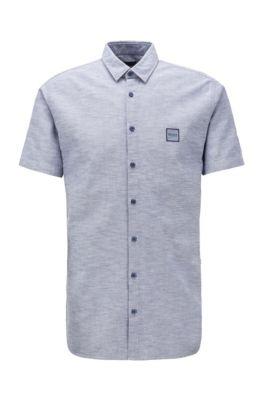 Slim-fit overhemd van oxfordkatoen met korte mouwen, Grijs