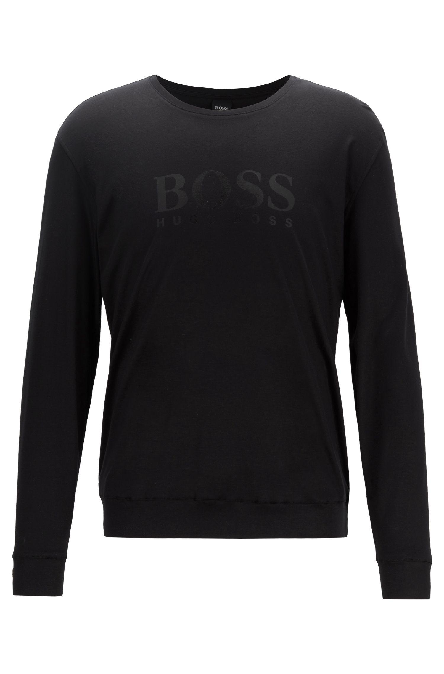 Haut de pyjama à manches longues en mélange de coton et de modal, avec logo, Noir