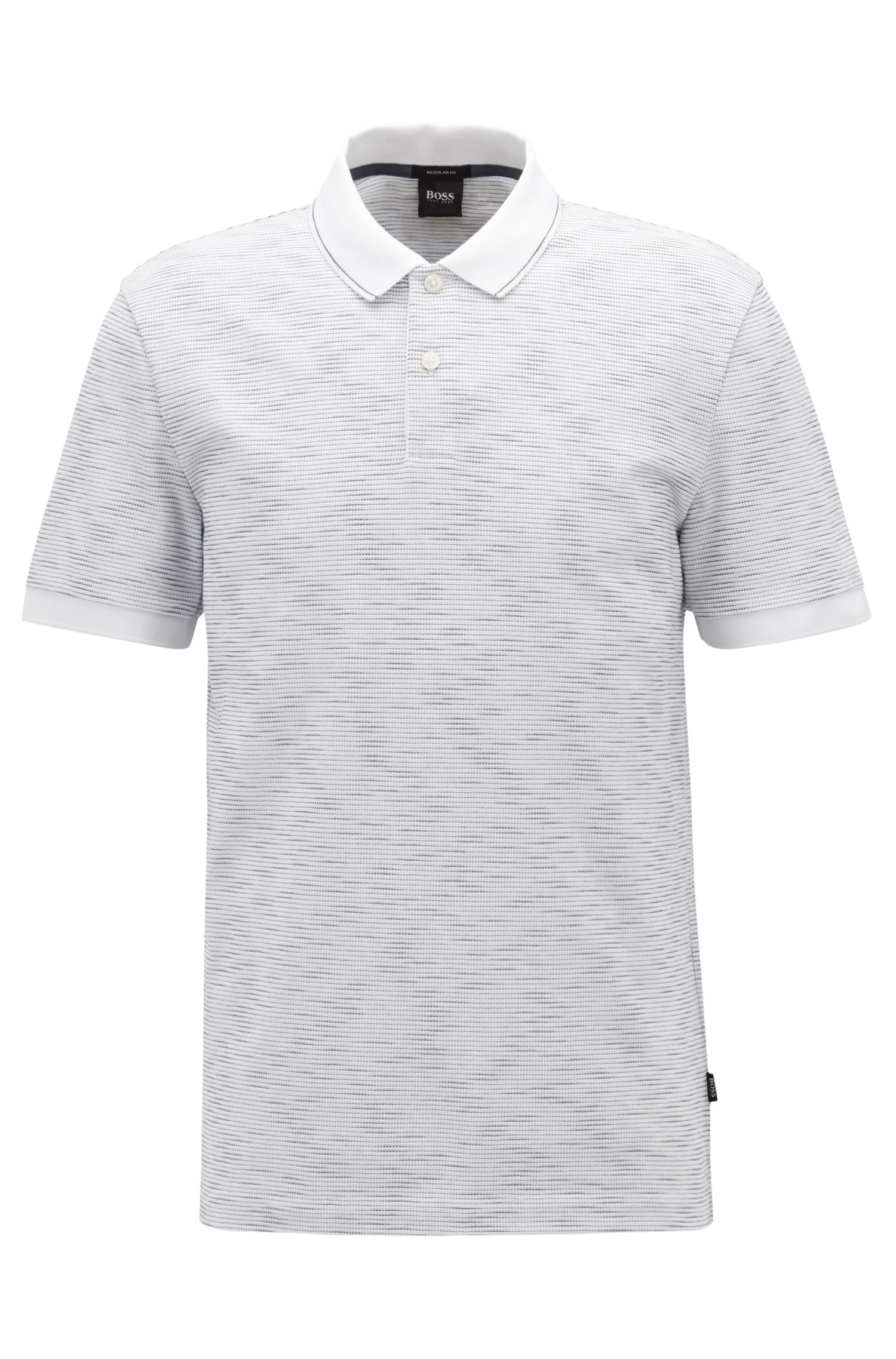Regular-fit polo shirt with space-dye effect, White