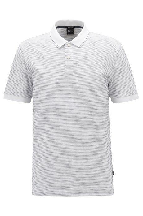 Regular-fit polo met space-dyed effect, Wit