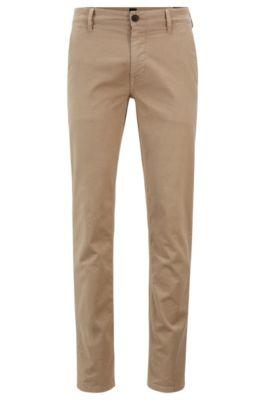 Slim-Fit Hose aus strukturierter Stretch-Baumwolle, Beige
